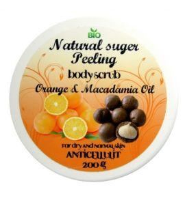 Naturalny Peeling Cukrowy o zapachu Pomarańczy i Olejem Macadamia 200 g