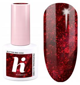 232 hi hybrid Sparkle lakier hybrydowy Glitter Red 5 ml