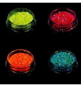 Pyłek do zdobienia paznokci fosforyzujący - Glow in the Dark - 3 różowy