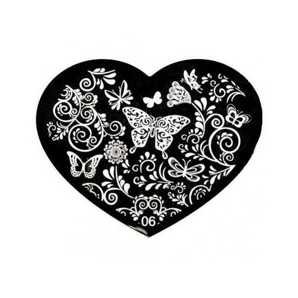 Blaszka do zdobień paznokci Serce 06